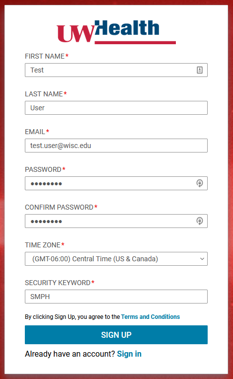 Learn@UWHealth sign up screen