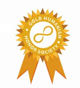 Gold seal that states Gold Humanism Honor Society