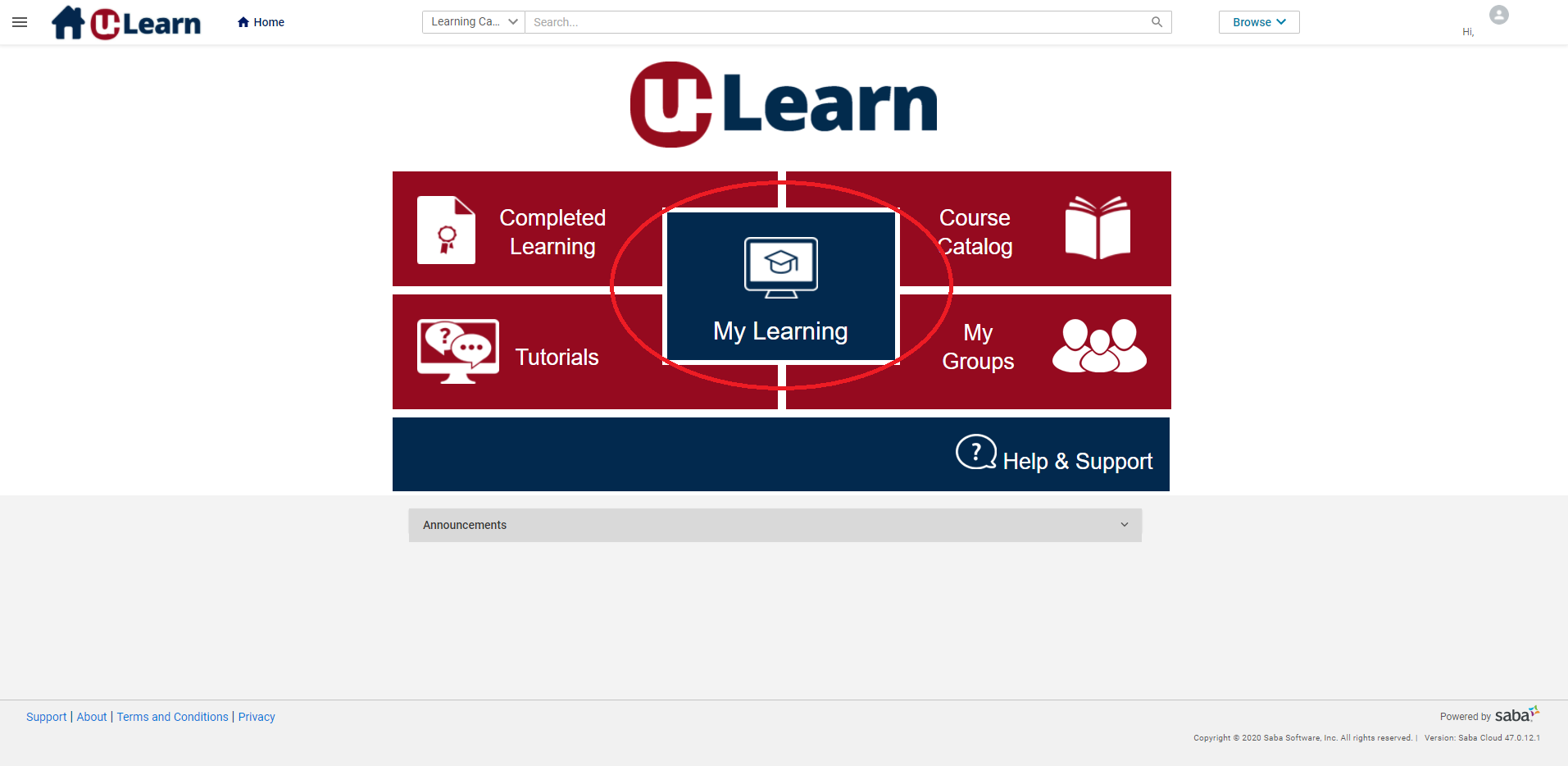 Home page for Learn@UW internal home page with My Learning button circled