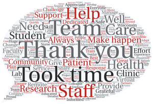 A word cloud of Shout-outs submitted by the SMPH community. Thank you, Team, and Help are the biggest words.